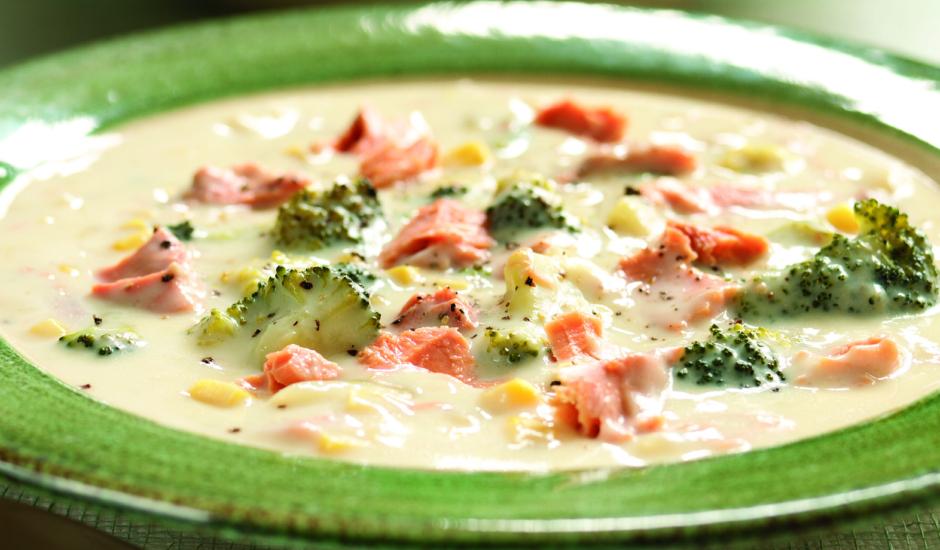 Wild Alaska Salmon, Broccoli and Sweet Corn Chowder