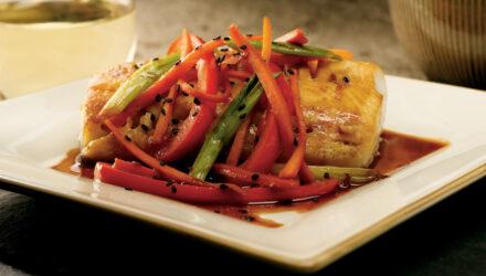 Teriyaki-Braised Alaska Sablefish with Colorful Vegetables