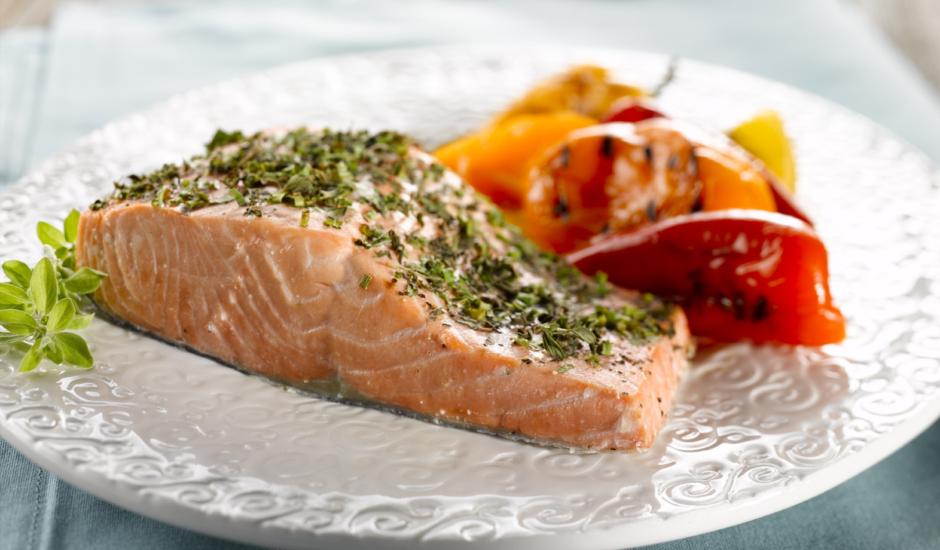 Planked Alaska Salmon with Mediterranean Medley