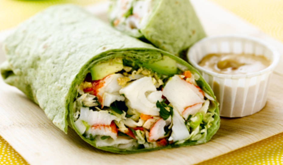 Asian Crunch Alaska Surimi Seafood Wrap with Spicy Soy Mayo