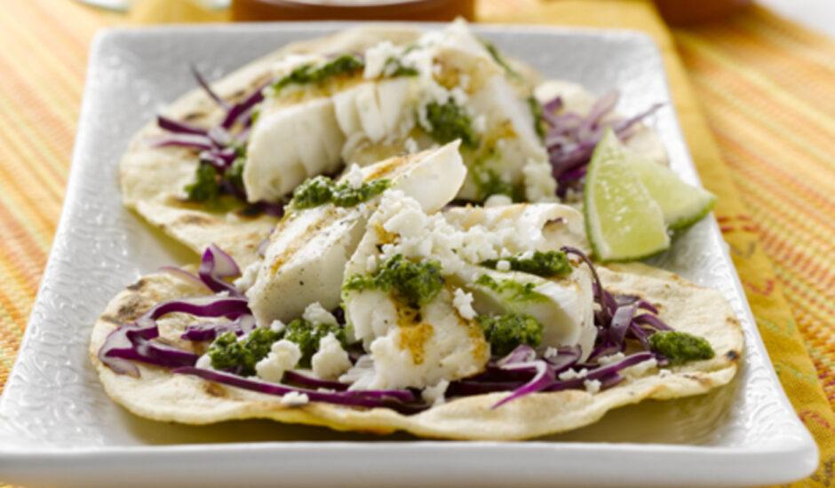Charred Alaska Halibut Tacos with Cilantro Pesto