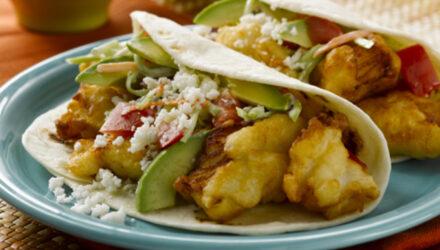 Citrus-Battered Alaska Fish Tacos with Creamy Garlic Lime Slaw