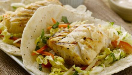 Black Thai Alaska Cod Tacos with Green Papaya Slaw