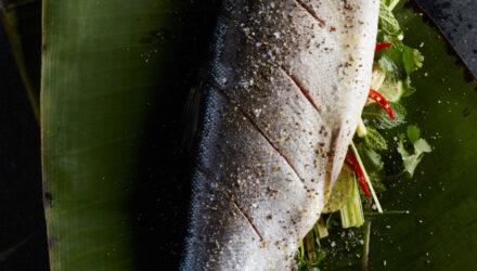 Asian Aromatic Alaska Keta Salmon with Sesame Snap Peas