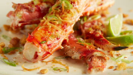 Tropical Coconut-Lime Glazed Alaska King Crab with Sweet Panko Thai Brittle