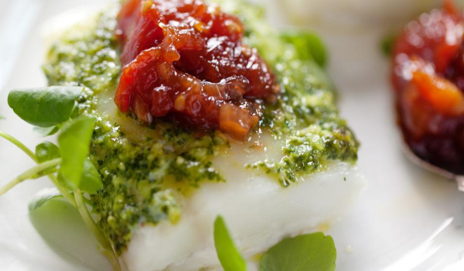Roasted Alaska Cod with Kale Pesto and Tomato Jam