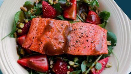 Balsamic Alaska Salmon with Strawberries