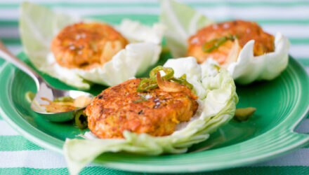 Alaska Salmon Cakes with Spicy Turmeric Garlic