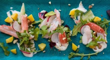 Alaska Snow Crab Salad with Goat Cheese and Gochujang Vinaigrette