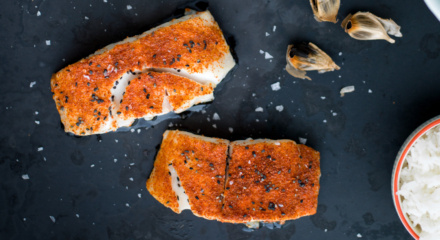 Togarashi Alaska Sablefish with Kale Kimchi