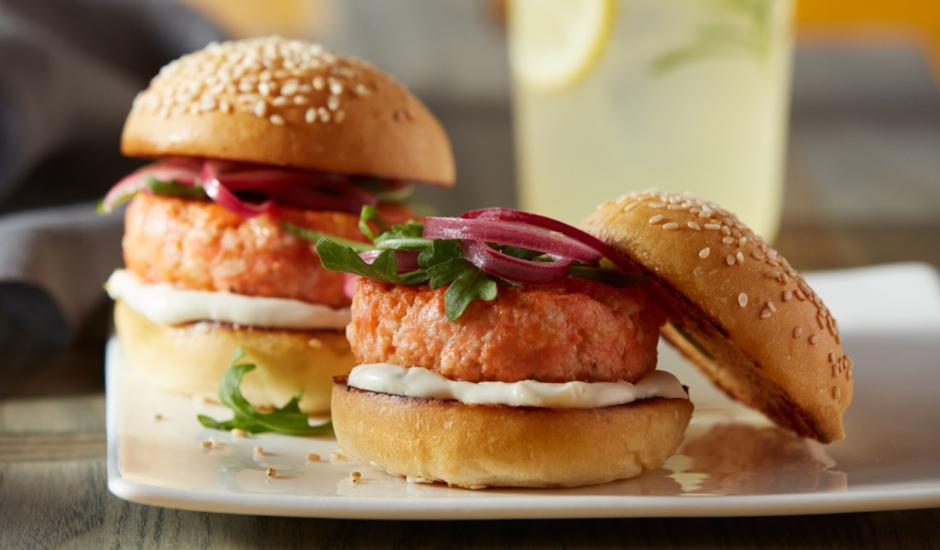 Alaska Salmon Sliders with Rosemary Lemon Aioli and Pickled Onions