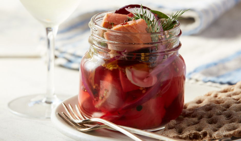 Pickled Wild Alaska Salmon with Red Onions and Beets in a Jar