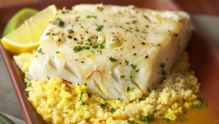 Olive Oil Poached Alaska Sablefish with Couscous and Saffron Broth
