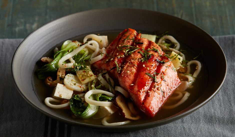 Alaska Honey Sriracha Salmon Noodle Bowl