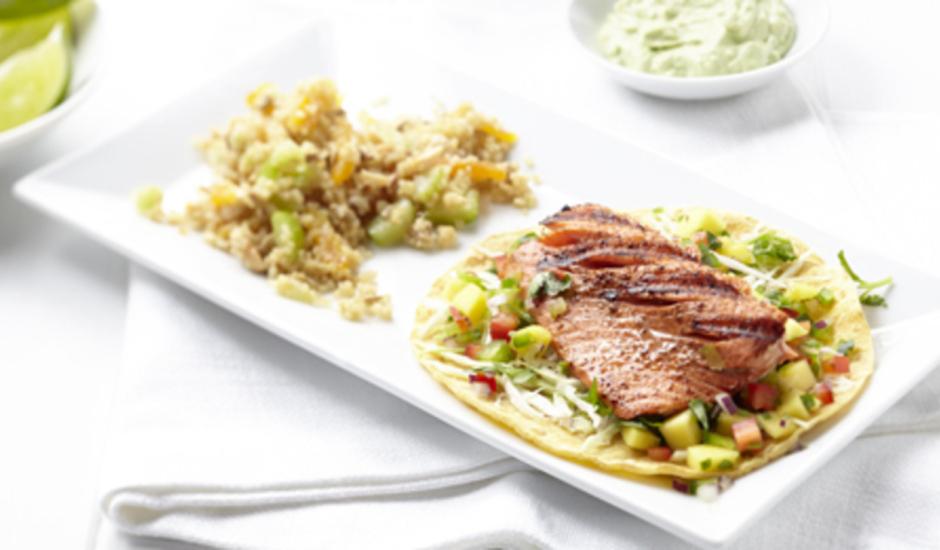 Alaska Salmon Tacos with Mango Salsa and Avocado Cream
