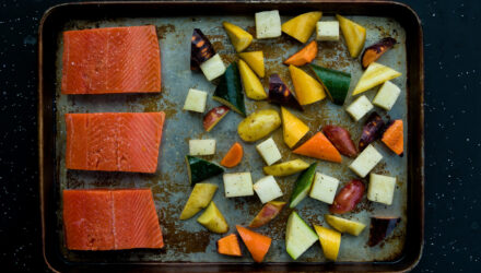 Mustard Maple Salmon with Roasted Vegetables
