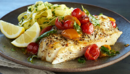 Pan Seared Alaska Halibut Steaks with Cherry Tomatoes and Basil