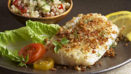Oregano-Crusted Alaska Cod with Greek Quinoa Salad