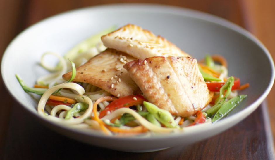 Seared Alaska Sole on Spicy Sesame Noodles