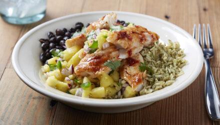 Alaska Pollock Burrito Bowl with Poblano Rice and Pineapple Salsa