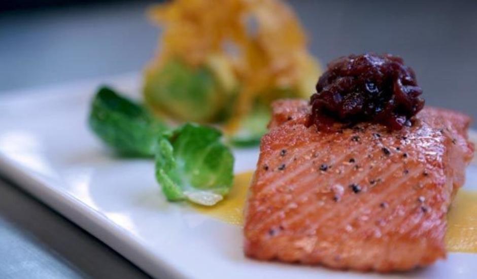 Alaska Salmon with Cranberry-Onion Jam