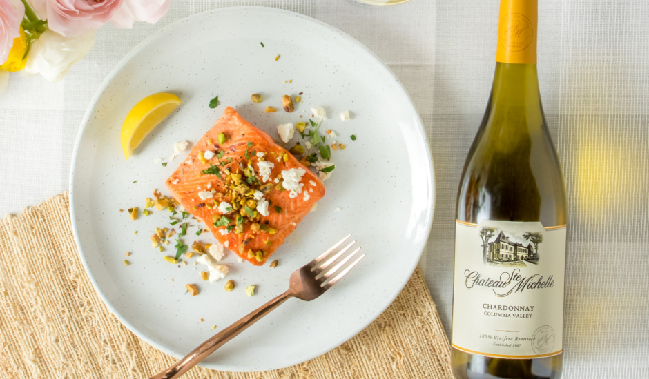 Ghee-Seared Wild Alaska Salmon with Lemon, Feta and Toasted Pistachios
