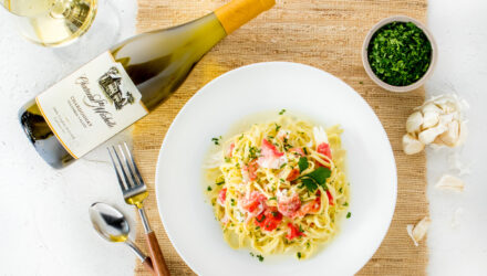 Garlicky Linguine with Alaska King Crab and Creme Fraiche