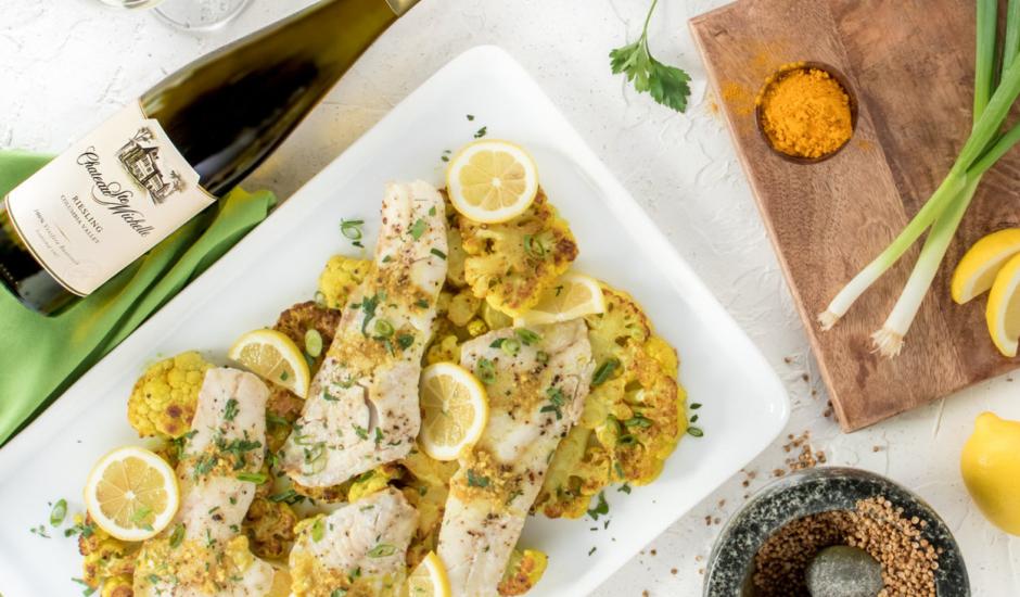 Wild Alaska Rockfish with Cauliflower Steaks, Turmeric and Curry Butter