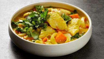 Braised Wild Alaska Pollock with Coconut Sweet Potato Curry