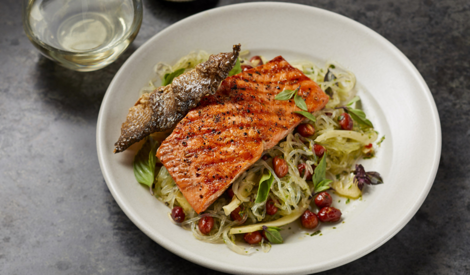 Wood Grilled Alaska Salmon & Kelp Noodle Salad
