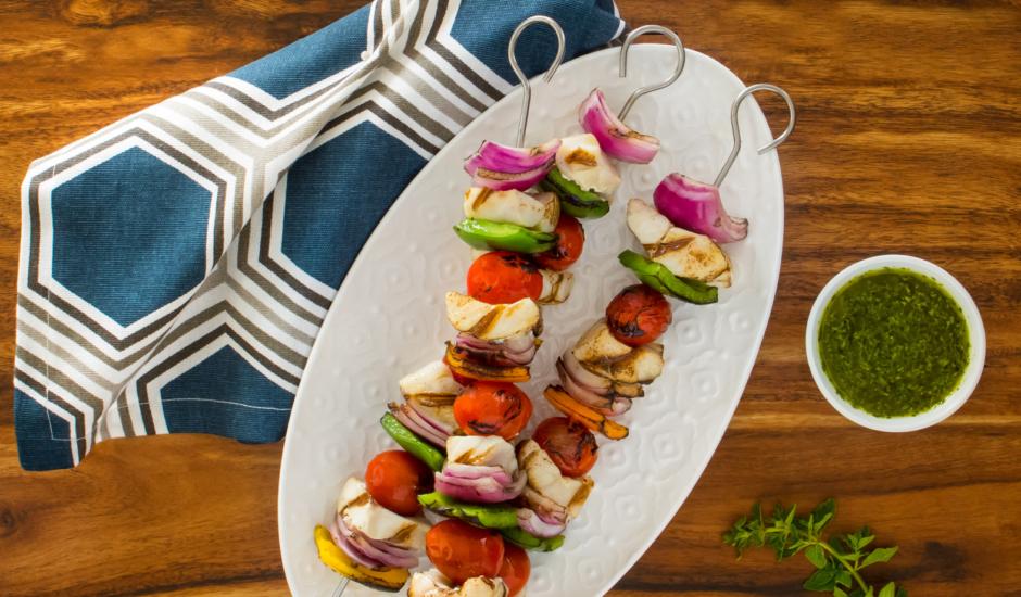 Grilled Alaska Rockfish Kebabs with Chimichurri Sauce