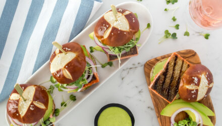Grilled Alaska Salmon Sliders with Avocado, Microgreens, and Green Goddess Aioli