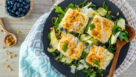 Parmesan-Crusted Alaska Cod with Summertime Arugula Salad