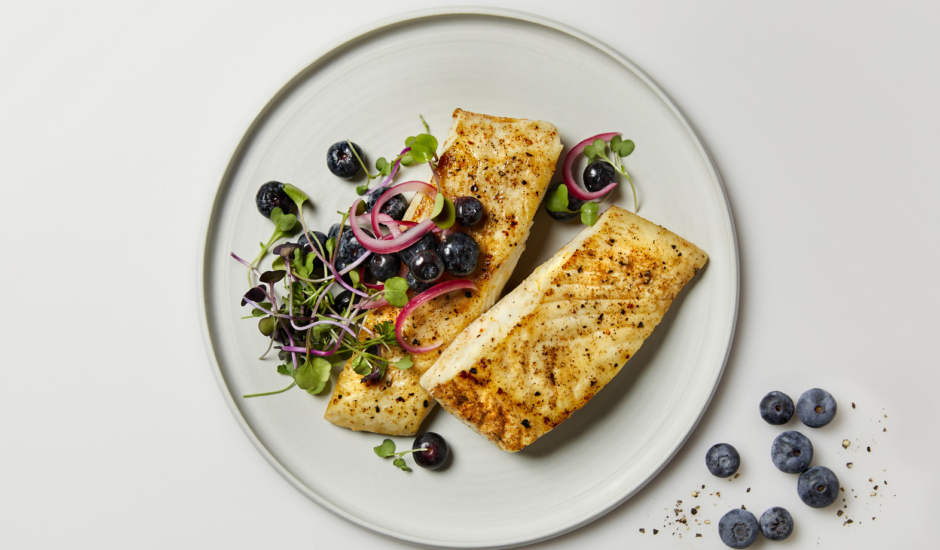 Seared Halibut with Pickled Blueberries