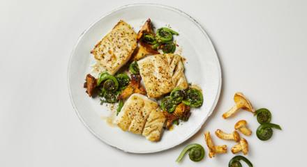 Buttery Dukkah Spiced Alaska Cod with Fiddlehead Ferns and Chanterelles