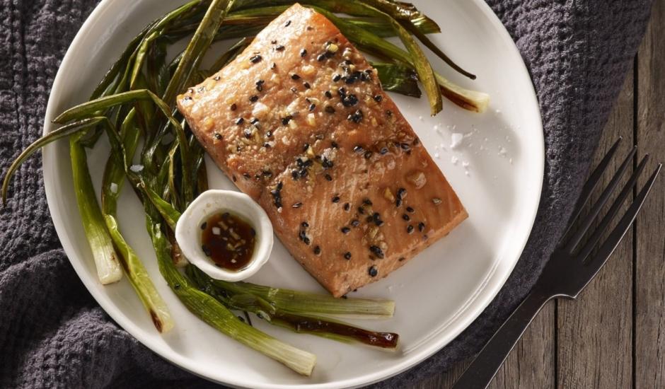 Honey-Soy Alaska Salmon with Scallions