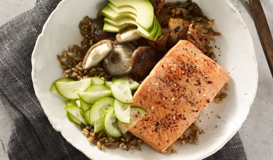 Instant Pot Alaska Salmon Farro Bowl with Pickled Cucumbers and Kimchi