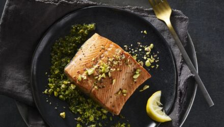 Pan-Seared Alaska Salmon with Pistachio-Parsley Pesto