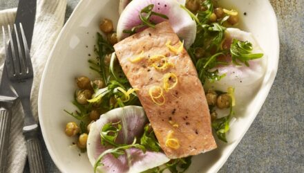 Grilled Alaska Salmon with Crispy Garlicky Chickpeas