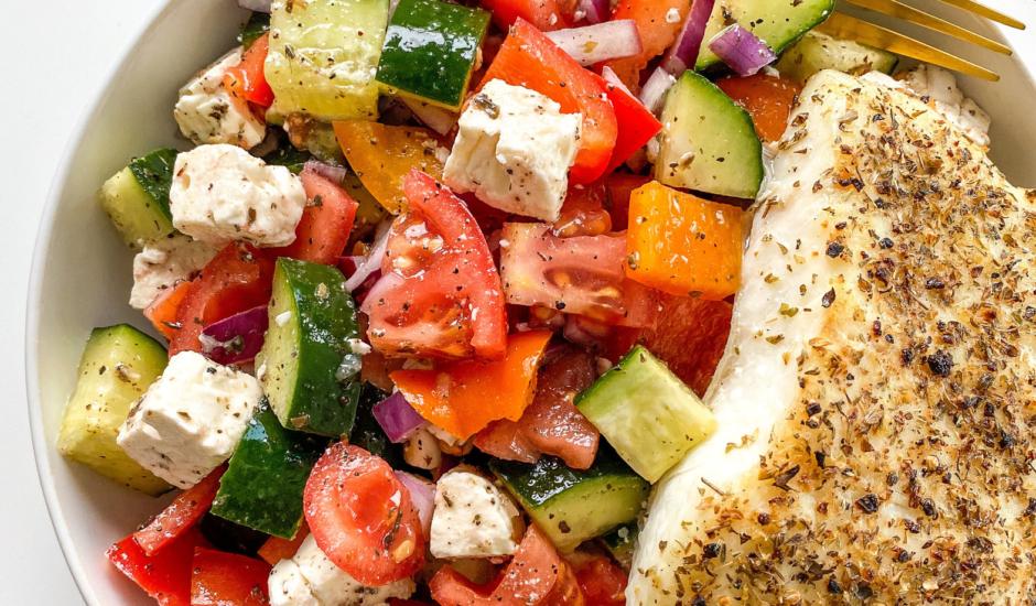 Mediterranean Style Alaskan Halibut with Village Greek Salad