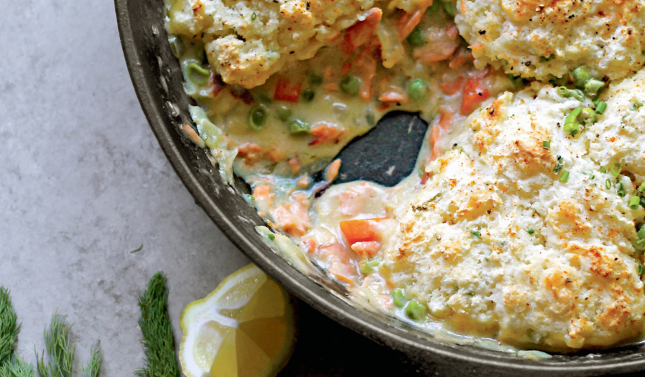 Smoked Salmon Pot Pie with Chive Drop Biscuits (Alaska from Scratch)