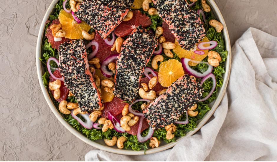 Sesame-Crusted Alaska Salmon Salad with Winter Citrus and Maple Sriracha Cashews
