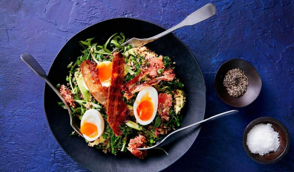 Warm Quinoa Salad with Avocado, Pancetta and Alaska Smoked Salmon