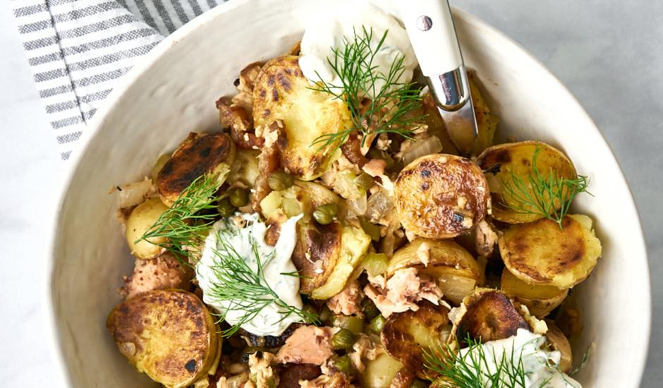 Alaska Salmon Potato Breakfast Hash with Dill Cream