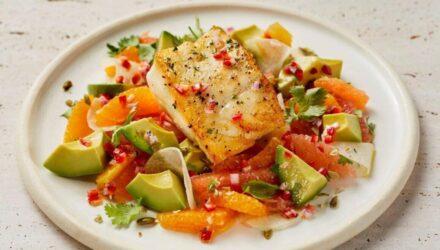 Alaska Cod with Citrus, Avocado, Jicama & Fresno Chile Vinaigrette
