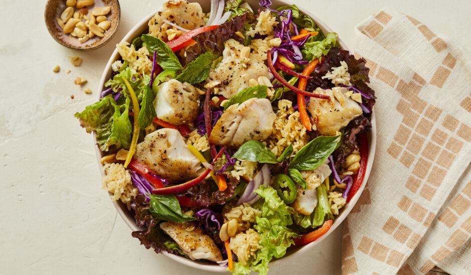 Laotian Crispy Rice Salad with Alaska Rockfish