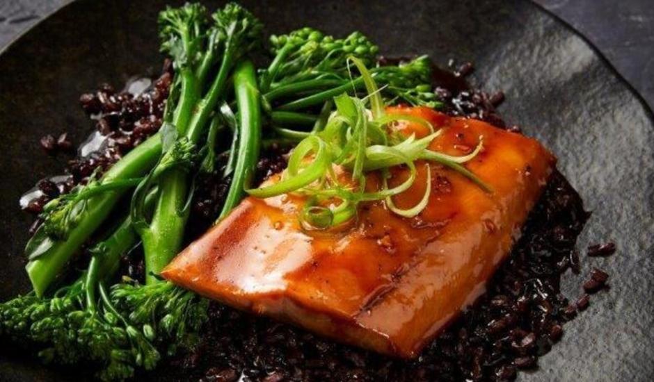 Alaska Salmon Char Siu with Broccolini & Crispy Rice