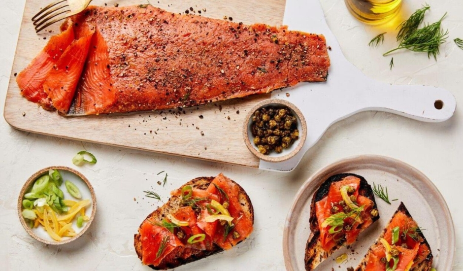 Alaska Salmon Pastrami on Grilled Rye with Fried Capers, Scallion, Preserved Lemon & Dill