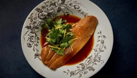 Spicy Tsuyu Braised Alaska Sole with Lime Leaf and Ginger