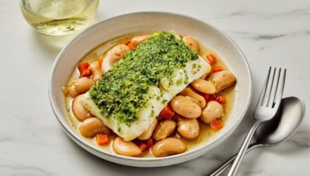 Herb Crusted Alaska Halibut Cassoulet of White Beans